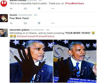 #FourMoreYears: Americans chant as Obama delivers farewell speech