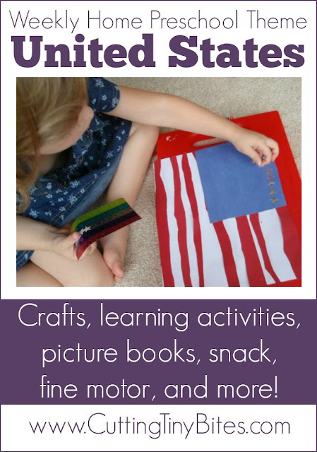 United State Theme Weekly Homeschool Preschool. Crafts, geography, picture books, math, snack, and more! Perfect amount of EASY activities for one week of home pre-k.