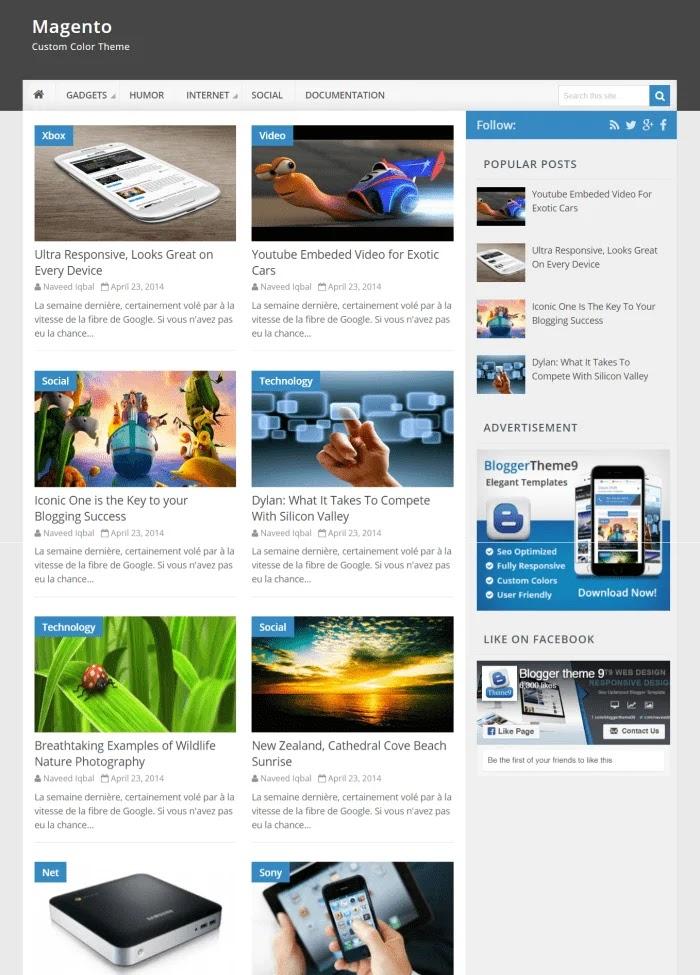 Magento Fast Loading Blogger Templates