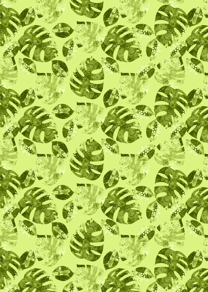 Kim Dellow's Cheeseplant Leaf pattern in Greenery