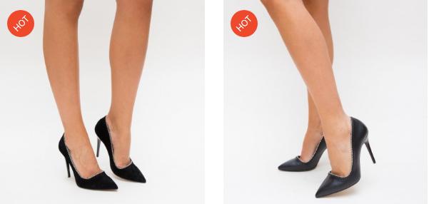 Pantofi negri eleganti cu toc de nunti din piele eco la moda cu pietricele pe margine