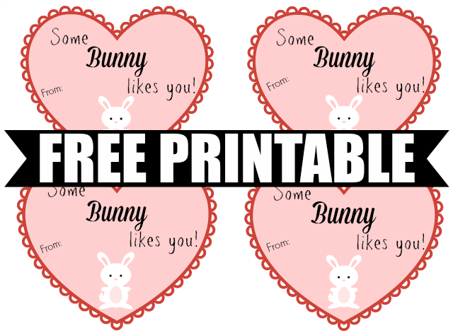 Some Bunny Likes You Free Printable - Non-Candy Valentine Idea