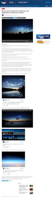 article from Global News by Nicole on noctilucent clouds