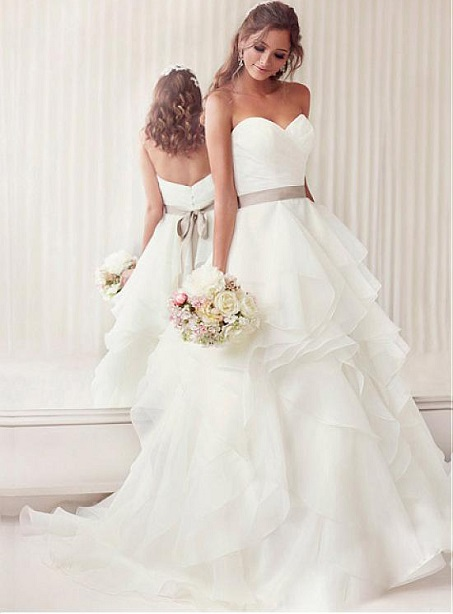 Vogue Stunning & Ball Gown Sweetheart Neck Natural Waistline Wedding Dress Worcester