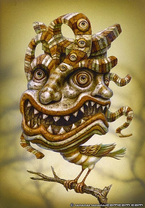 27-Tiki-Bird-Naoto-Hattori-Dream-or-Nightmare-Surreal-Paintings-www-designstack-co