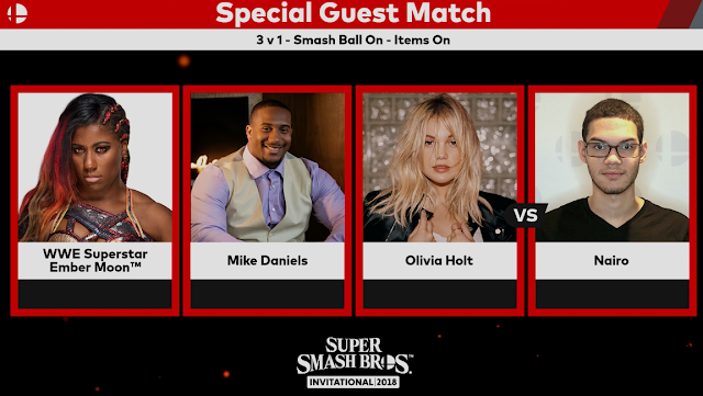 Super Smash Bros. Invitational 2018 Ember Moon Mike Daniels Olivia Holt Nairo special guest match 3 vs. 1