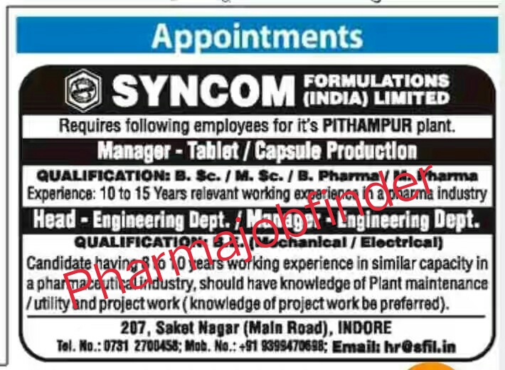 SYNCON FORMULATION LTD Appointment Urgently Required For