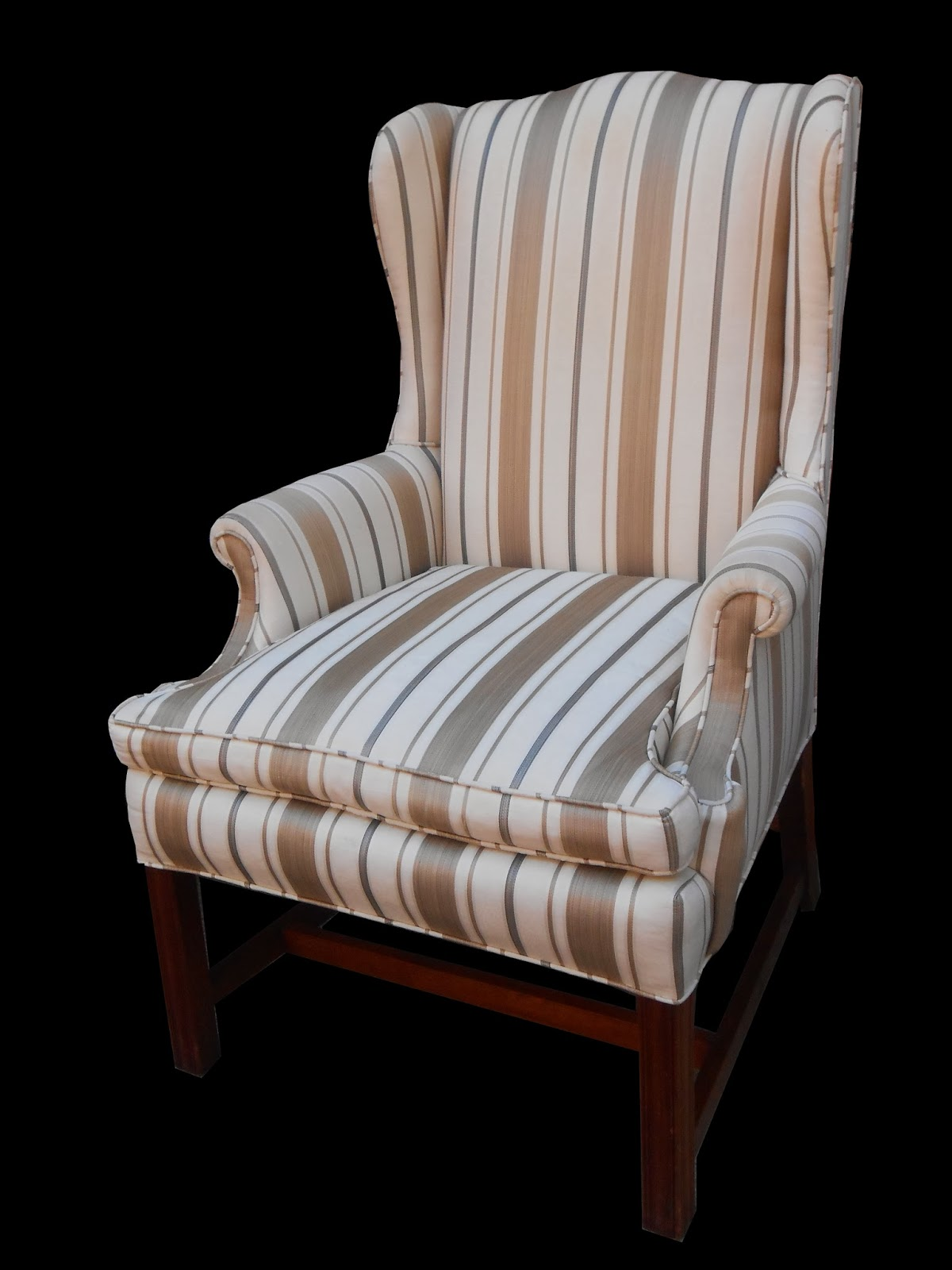 striped wingback chair design catalogue uhuru furniture and collectibles white tan stripe