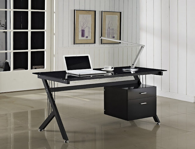 buying modern black glass home office desk for sale
