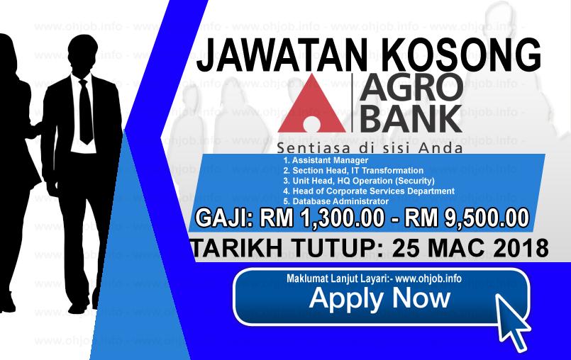 Jawatan Kerja Kosong Bank Pertanian Malaysia Berhad - Agrobank logo www.ohjob.info macc 2018