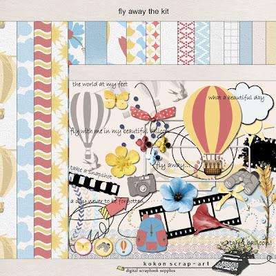 Fly Away;  new full kit by Kokon Scrap-Art