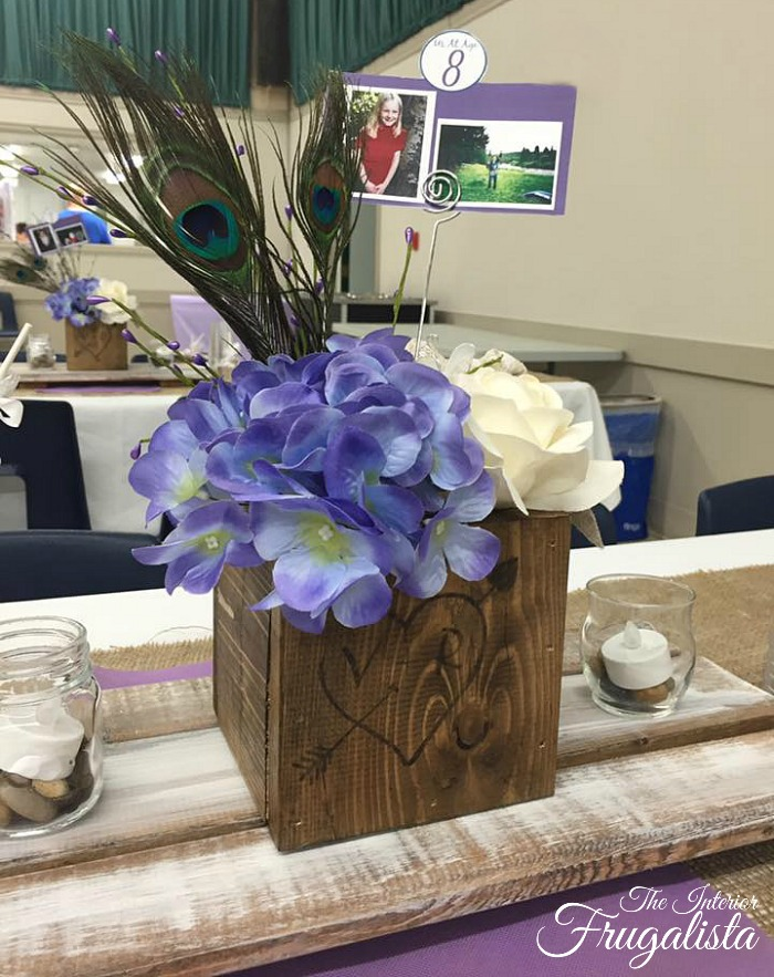 How to create WOW factor on Wedding Guest Tables on a low budget by DIYing Rustic Centerpiece Boxes and Whitewashed Board and Batten Trivets.
