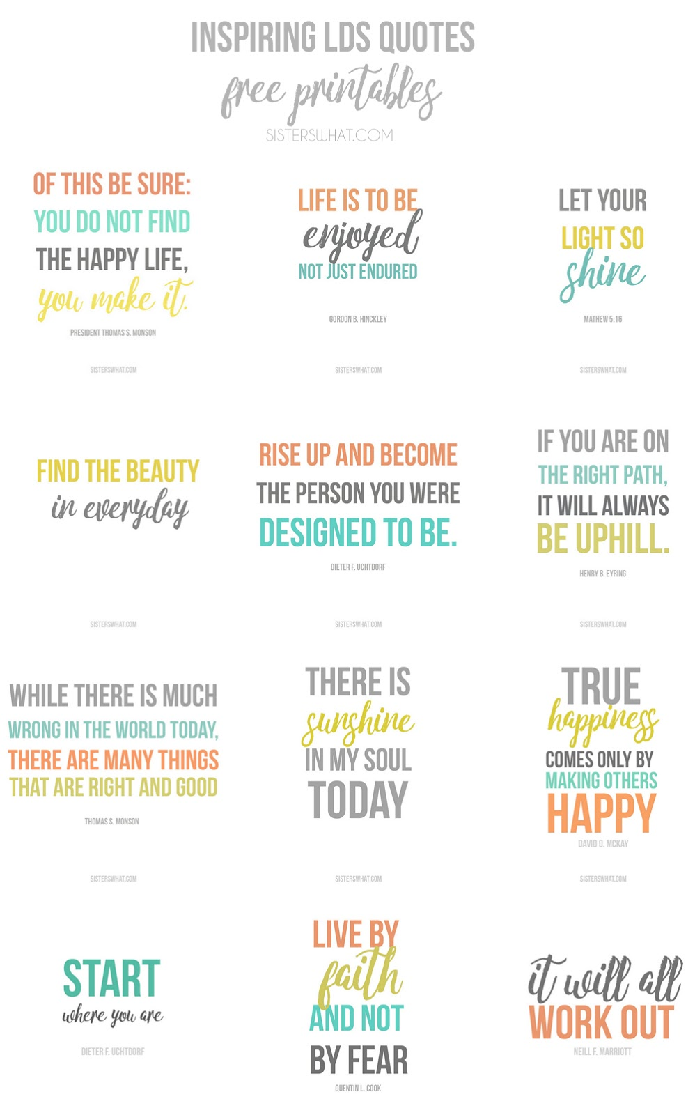 Inspirational LDS quotes free printables