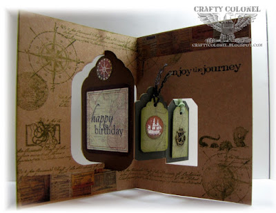 CraftyColonel Donna Nuce for Cards in Envy, Club Scrap Navigation, Karen Burniston Tags Pivot die