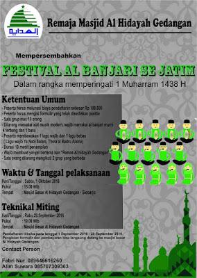 Festival Al Banjari (Remaja Masjid Al Hidayah Gedangan - Dalam Rangka 1 Muharram 1438 H) Se Jawa Timur 2016
