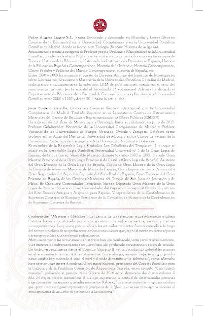 """Conferencia: """"Masones y Católicos""""."""
