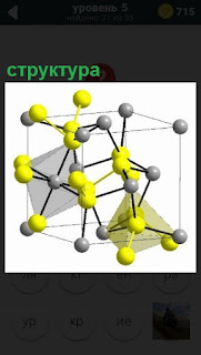 Изображение структуры молекулы разными цветами, соединены между собой