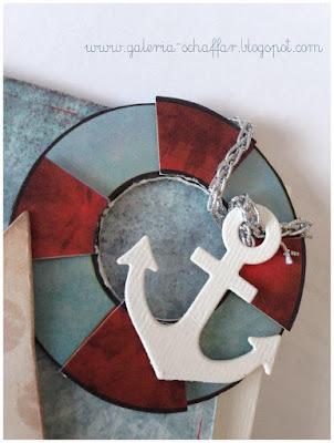 koło ratunkowe z papieru wykrojnik kotwica  handmade kartki schaffar