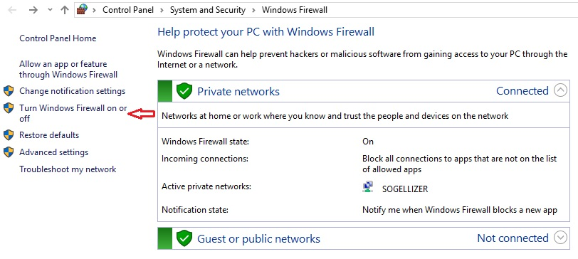 Nonaktifkan Firewall Windows 10