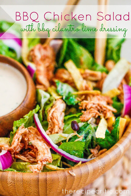 BBQ Chicken Salad with BBQ Cilantro Lime Dressing #bbq #bbqchicken #chicken #chickensalad #salad #cilantro #bbqcilantro #limedressing #easyrecipe