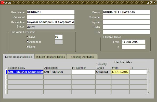 XML Publisher Responsibility