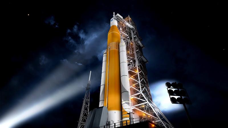 Wizja artystyczna - zestaw SLS w misji EM-1 czeka na start na stanowisku LC-39A w Centrum Kosmicznym Kennedy'ego na Florydzie. Credits: NASA