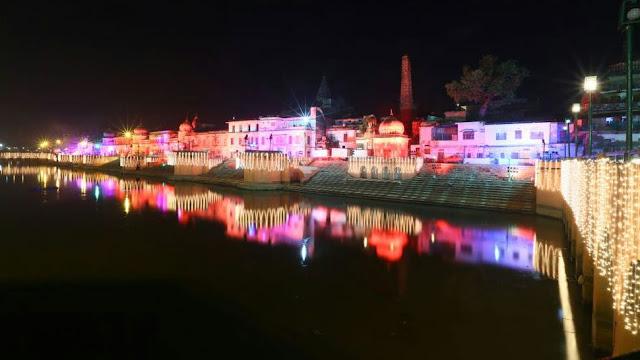 अयोध्या में दीपोत्सव के लिए सजाए गए घाट. तस्वीर: ट्विटर
