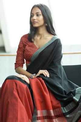 Beautiful Dusky Indian Model Girl In Stylish Crimson Shadow Saree.