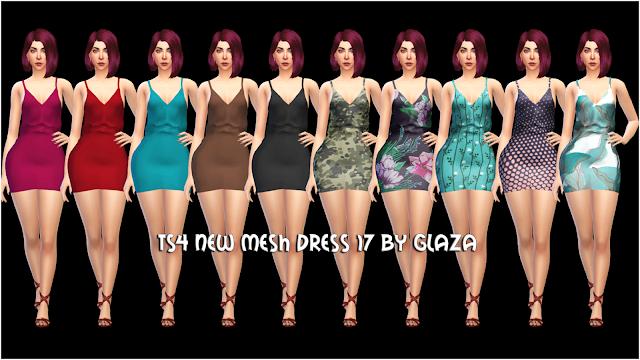 TS4 NEW MESH DRESS 17 BY GLAZA