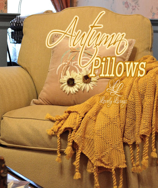 stenciled autumn pillows