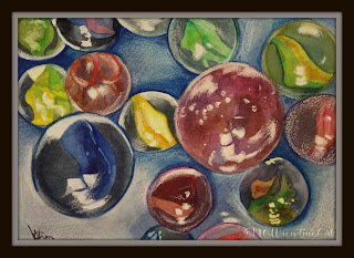 watercolor painting marbles 30in30 ncwren