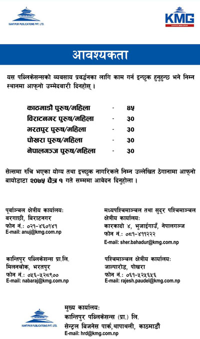 Kantipur Job Vacancy