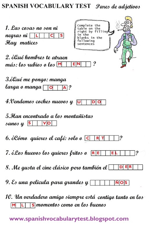Spanish Vocabulary Test: Adjetives and Word pairs (B1)