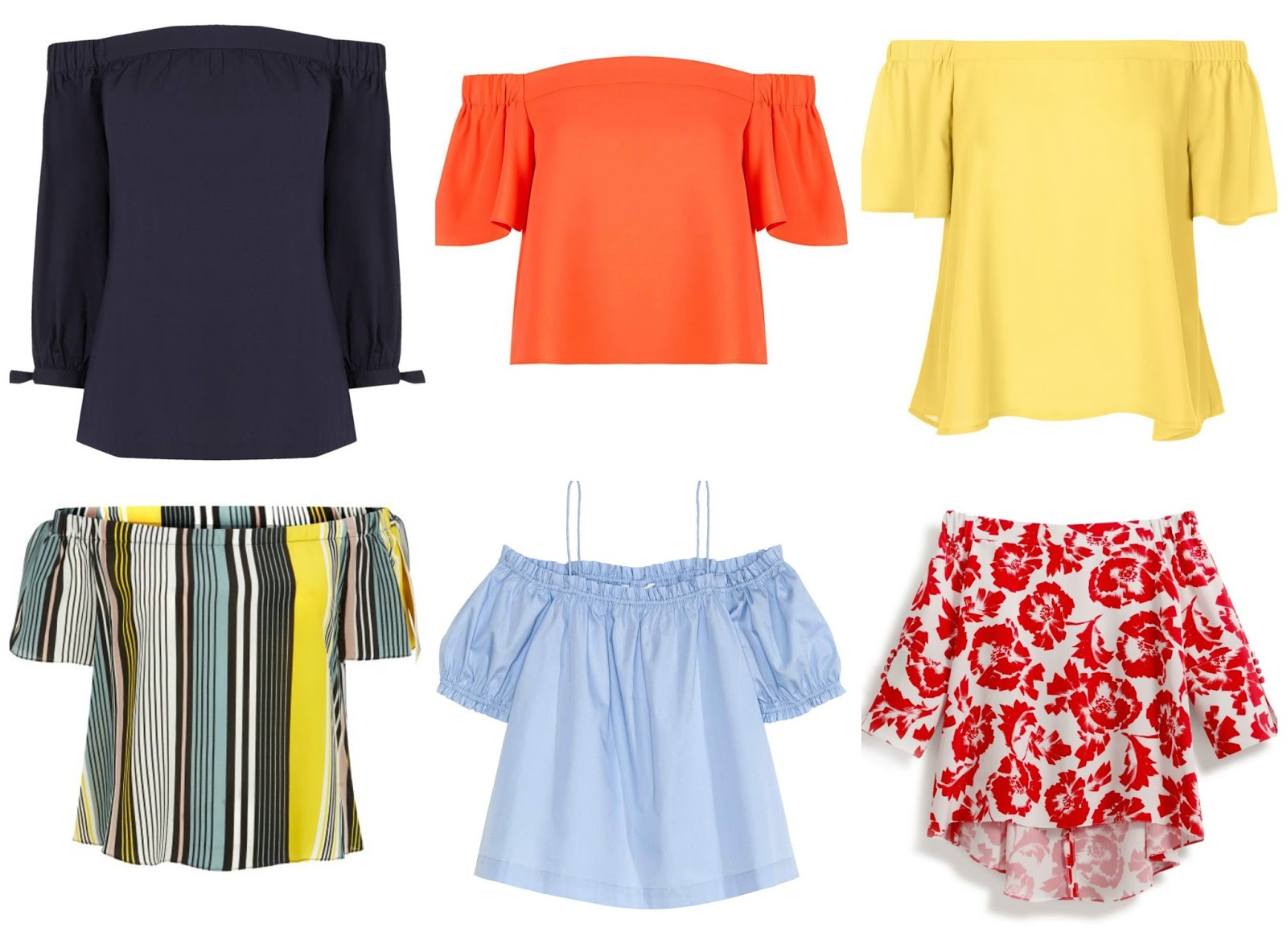 db13e978687 Cotton off-shoulder top, £32, Warehouse; Structured Bardot Top, £32,  Topshop; Bright Bardot Top, £12.99, New Look; Striped Bardot Top, £9.99 New  Look; ...