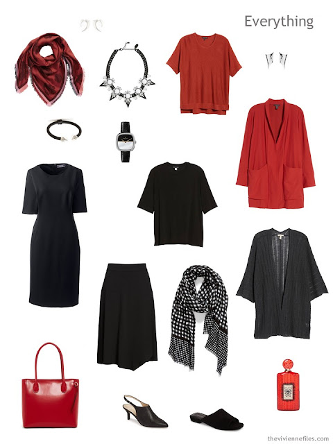 Tote Bag Travel capsule wardrobe in black, grey and red