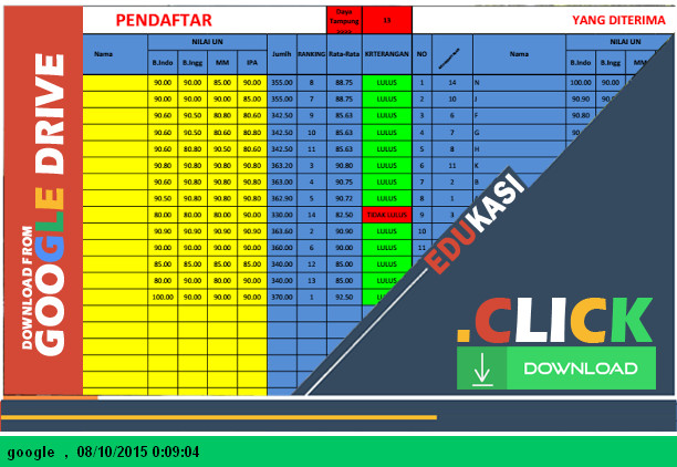 Aplikasi PSB SD, MI, SMP, MTS, SMA, SMK 2015-2016 dengan Microsoft Excel - Download