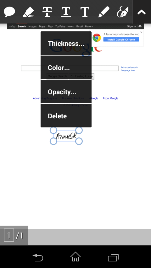adobe reader android adding signature