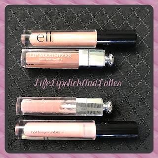 dior, e.l.f. cosmetics, pink, beige, lip plumper, lip maximizer