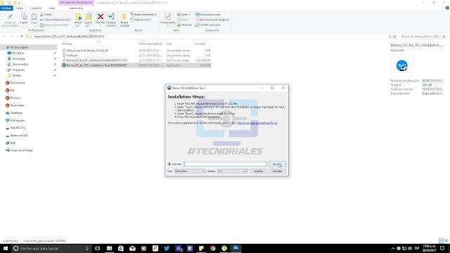 Cargar imagen ISO del Remix OS 3 en el asistente.
