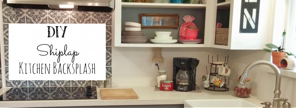 Inexpensive Backsplashes For Kitchens Wooden Trash Bin Kitchen Diy Shiplap Back Splash Little Vintage Cottage