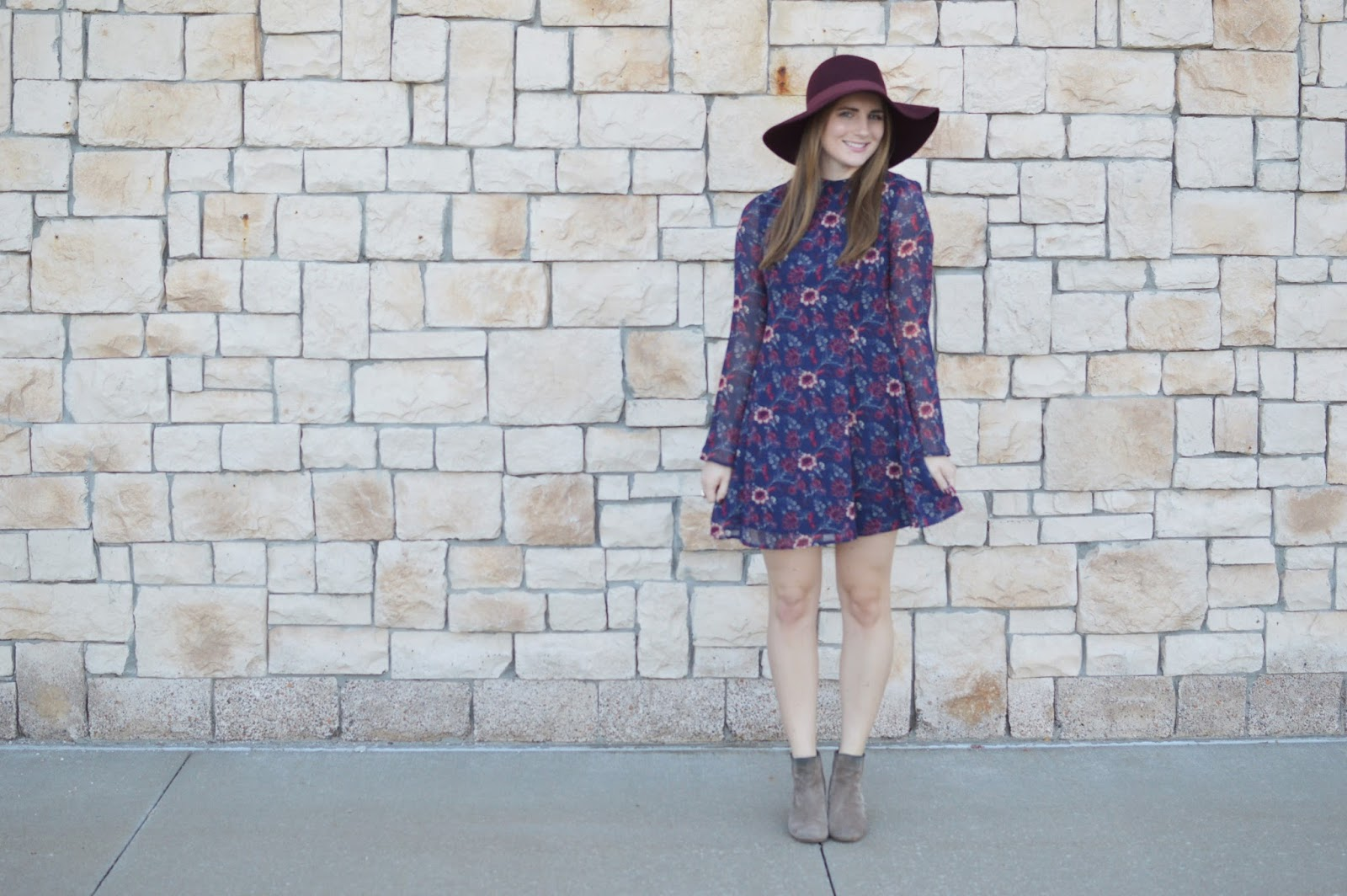 cute floral dress for fall | fall dresses | cute dresses to wear this fall | 2016 fall trends |  dresses with booties for fall | a memory of us