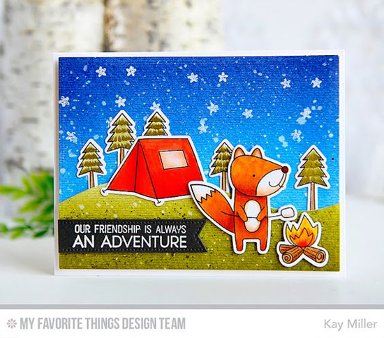 Friendship Adventure Card by Kay Miller featuring featuring the Warm & Fuzzy Friends Card Kit, the Starry Night Background Builder stamp, and the Snow Drifts Die-namics #mftstamps