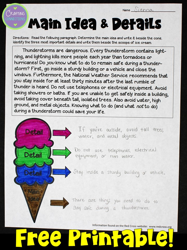 Main Idea Anchor Chart Free Worksheet Included Crafting Connections