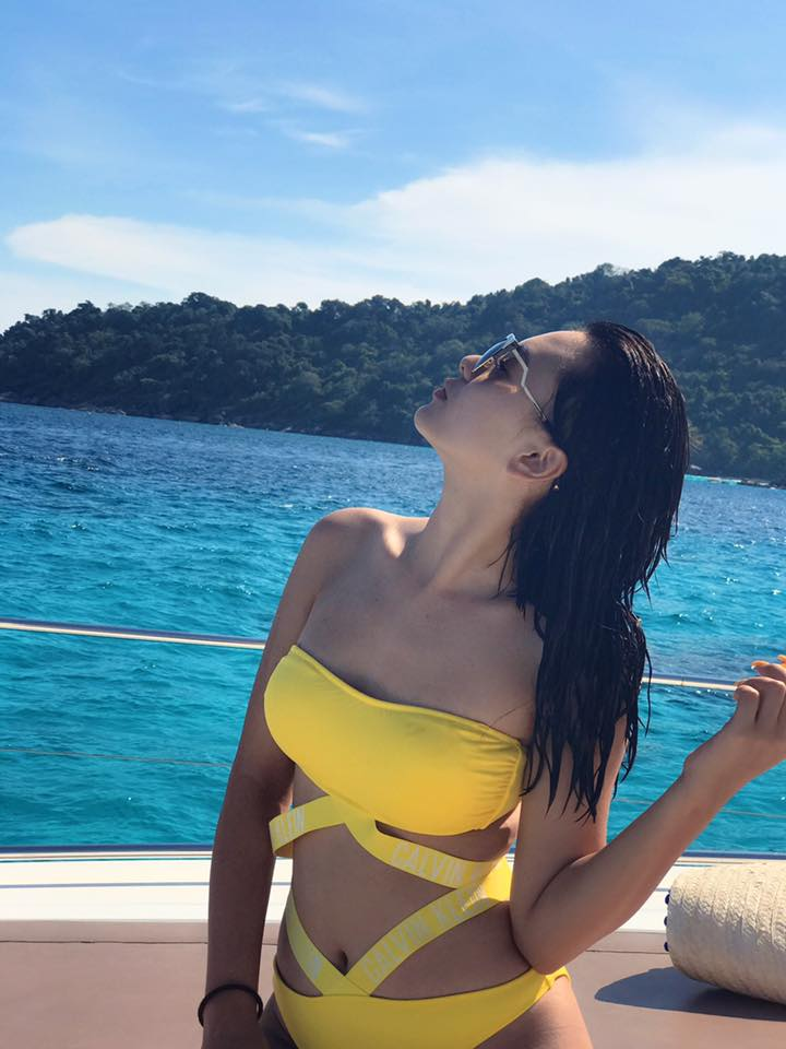 Shwe Mhone Yati In Yellow Bikini At The Beach