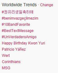 Twitter Yuri trending topic worldwide