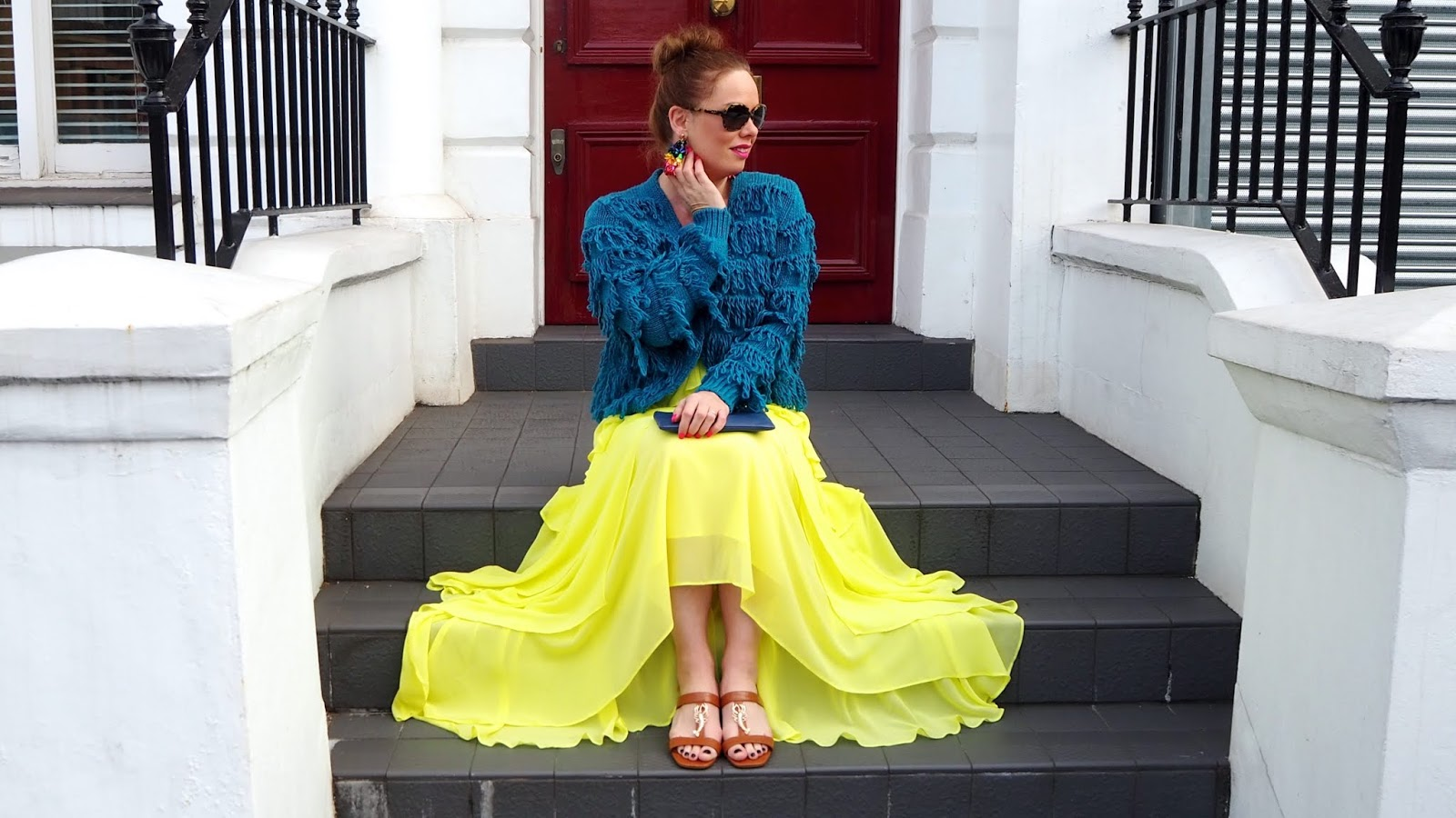 yellow chiffon dress, shaggy teal cardigan and brown lobster sandals