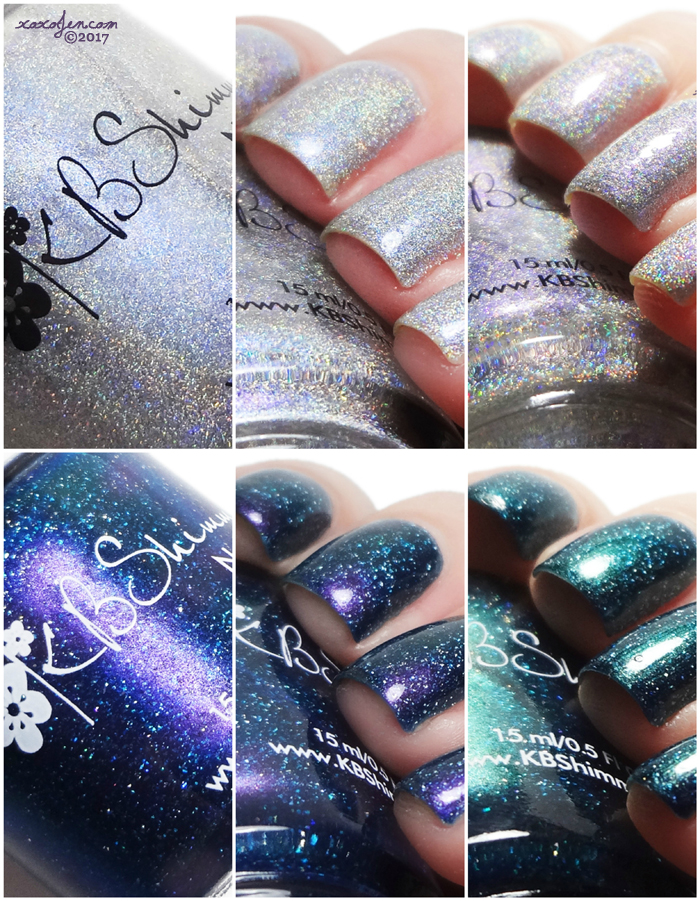 xoxoJen's swatch collage of KBShimmer Polish Con LEs