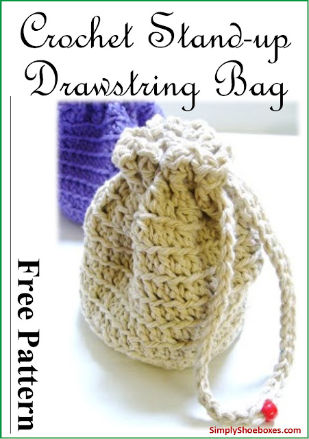 Crochet Stand-up Drawstring Bag Pattern.  Designed to hold small toys in an Operation Christmas Child shoebox.