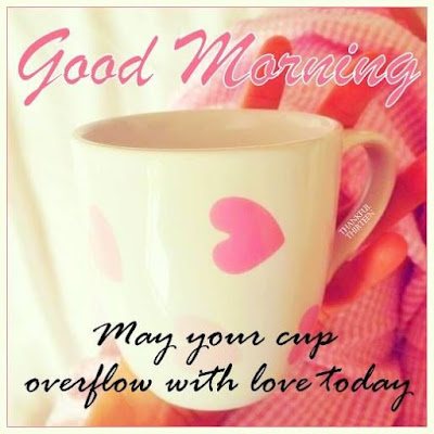 Good Morning pics with Romantic Rose andCup of Love