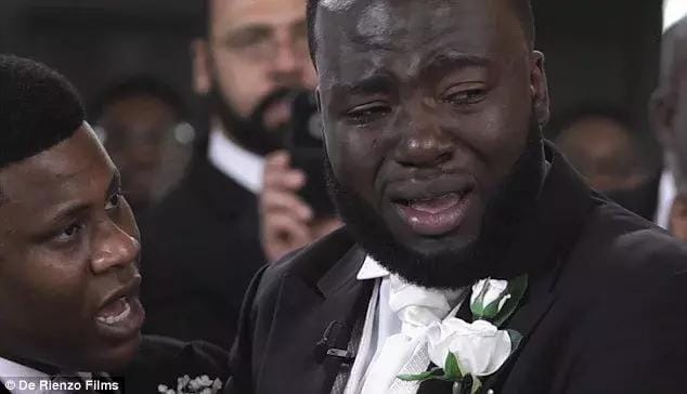 Ghanaian-born Gabriel Deku cries on his wedding